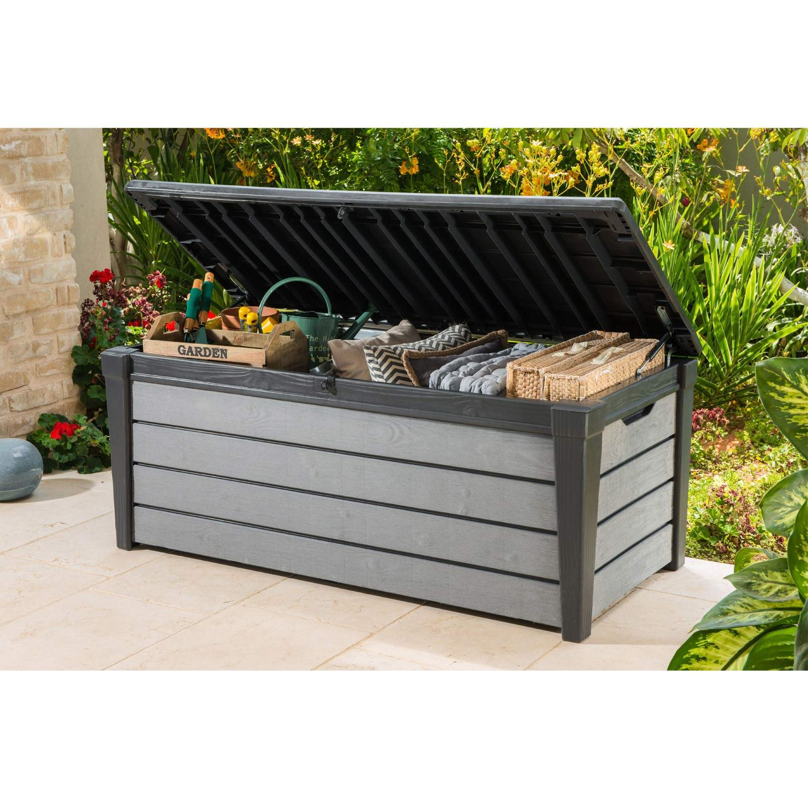 Aufbewahrungsbox Garten Luxus Keter Garten Box Kissentruhe Holzoptik Brushwood 455 Liter