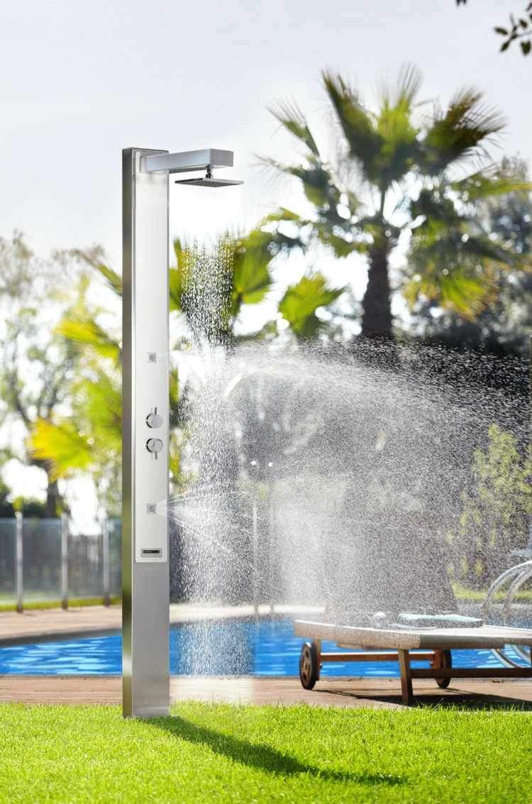 garten dusche astralpool modern metall optik pool