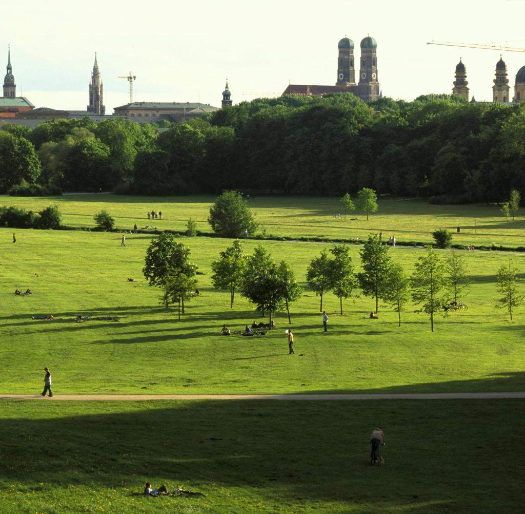 View over English Garden to spires of Mu