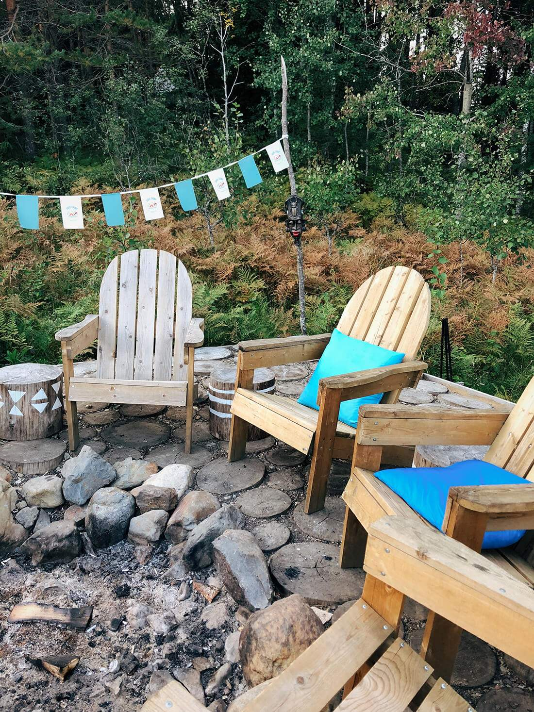 armchairs bonfire buntings