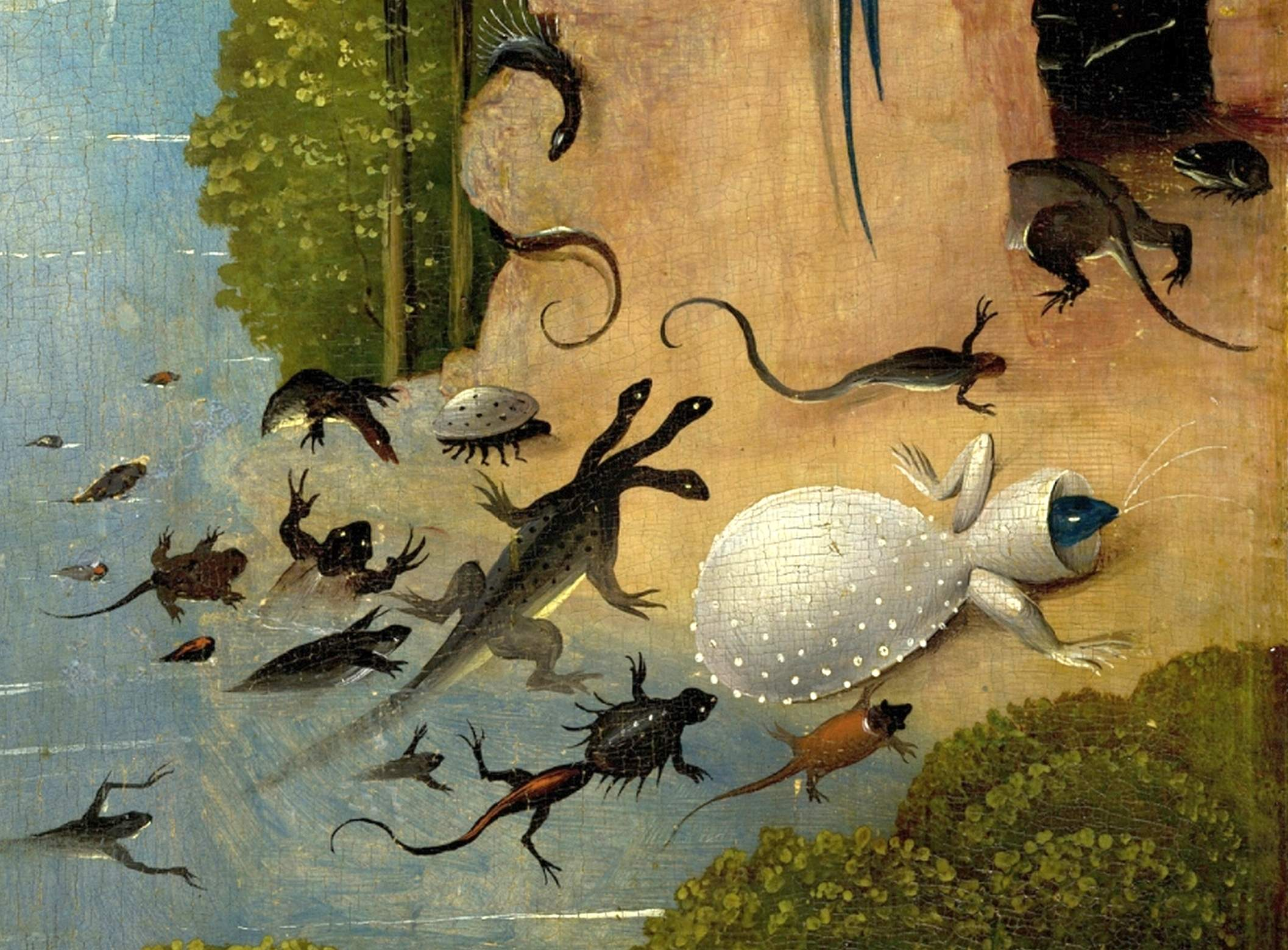 Datei Bosch Hieronymus The Garden of Earthly Delights left panel Detail Amphibia and fish