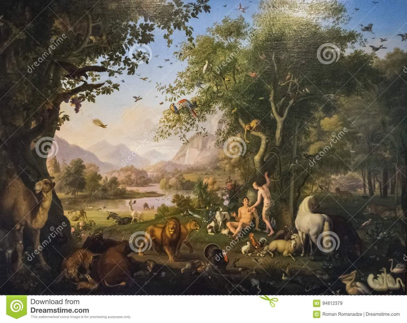 redaktionelles stockbild ursprüngliches malendes adam und vorabend im garten eden image