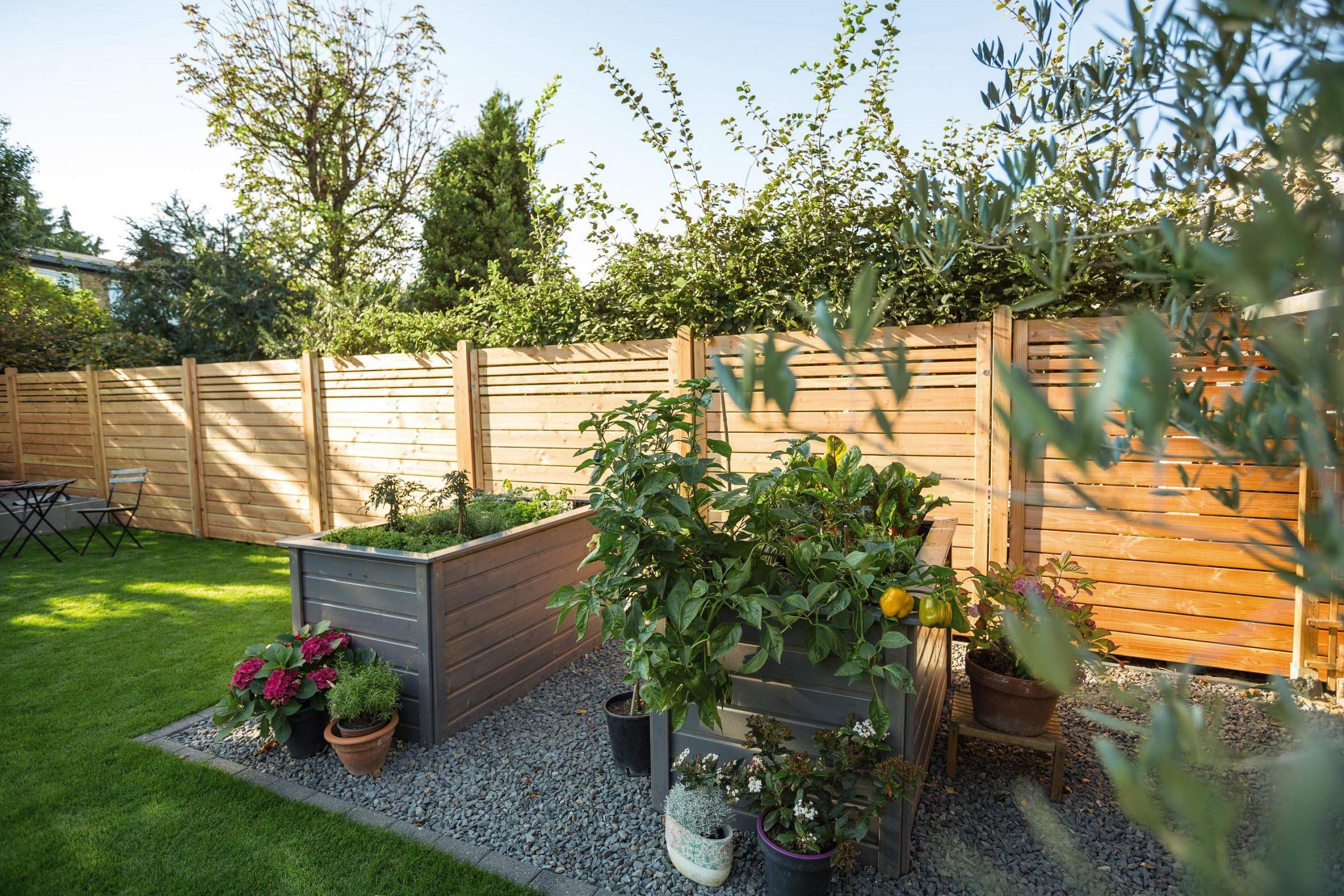 Garten Hochbeete Holzzaun Sichtschutz