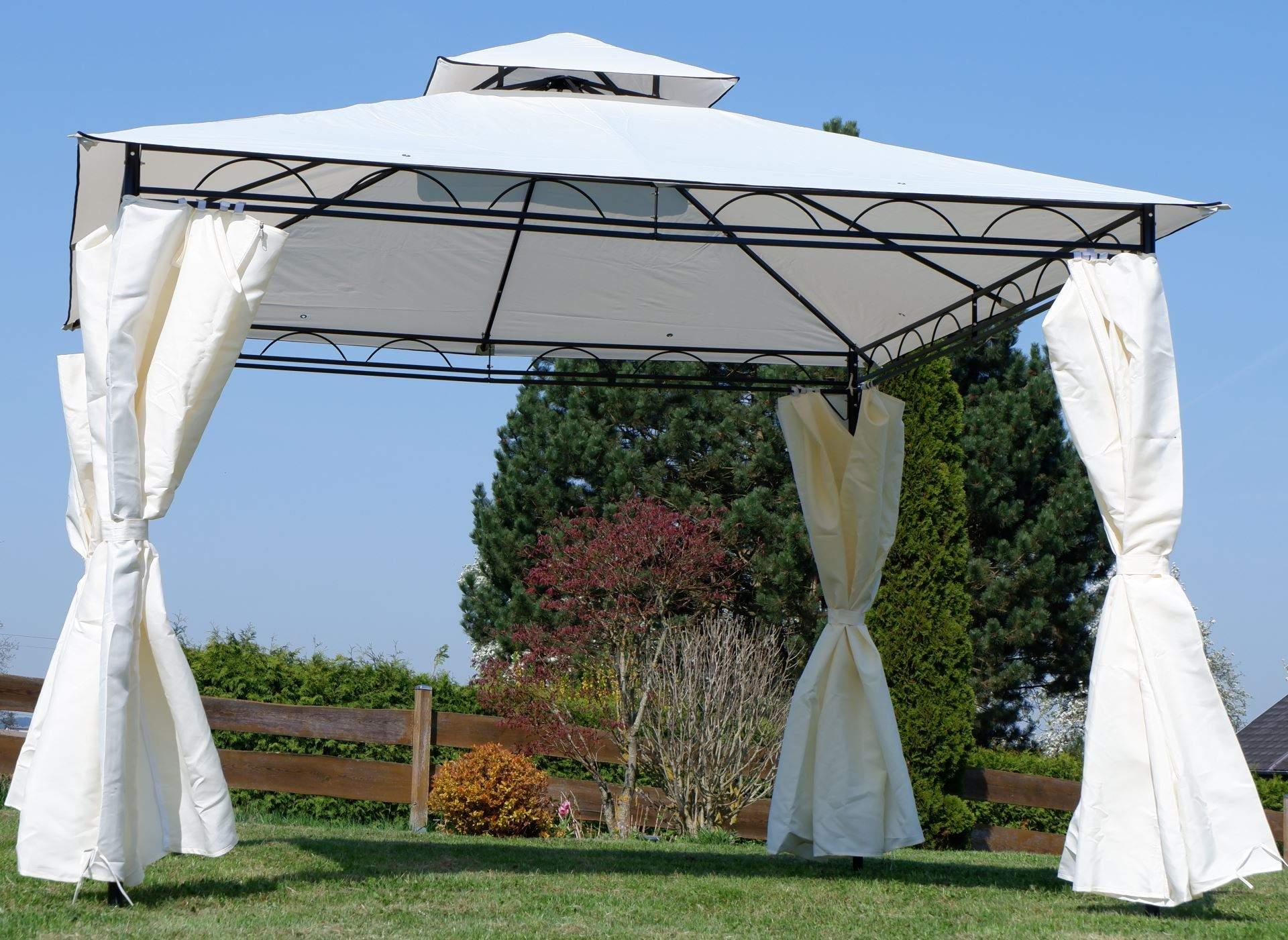 Pavillon Garten Einzigartig Eleganter Garten Pavillon 3×3 Meter Dach Wasserdicht Uv30 9m² Mit 4 Vorhängen Quadratisch Modell 7075 3×3