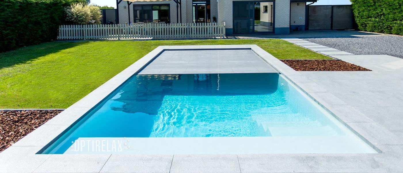 GFK Luxus Vinylester Pools OPTIRELAX Pool mit Rollabdeckung 11 Meter