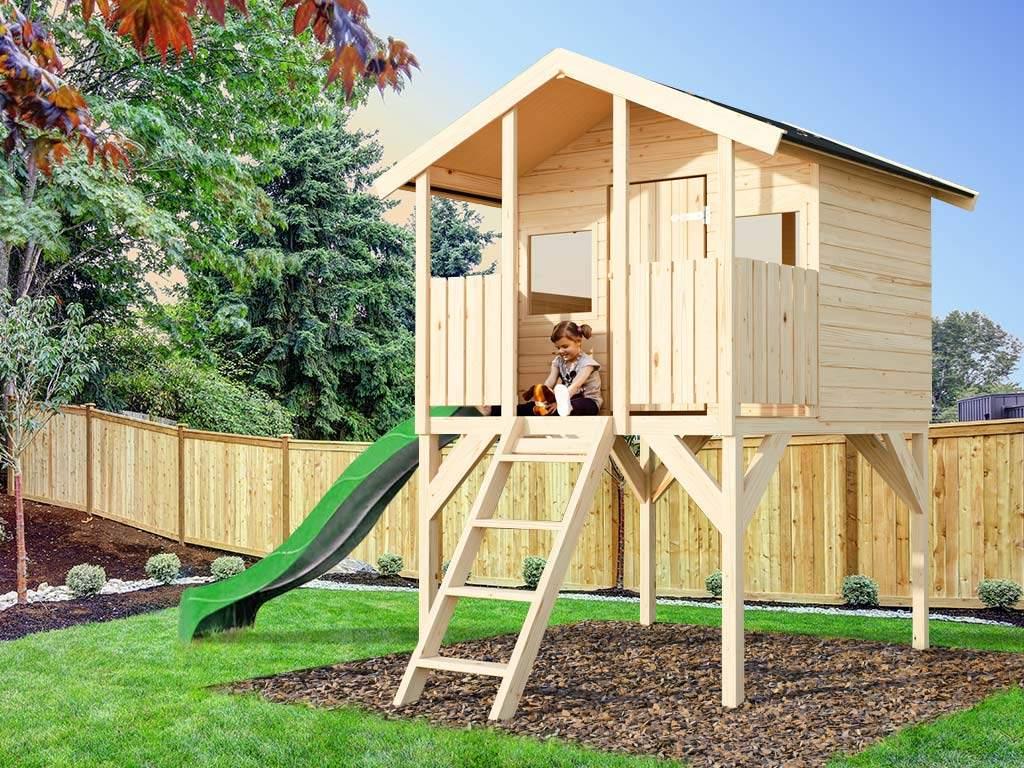 Spielhaus Garten Frisch Details Zu Kinder Garten Holz Spielhaus toby Sparset 1 Stelzenhaus 175 5x187x282 Rutsche