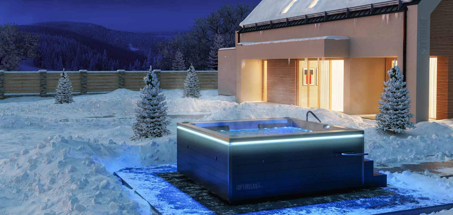 Optirelax Aussenwhirlpool im Garten Optirelax Lounge Pool im Schnee