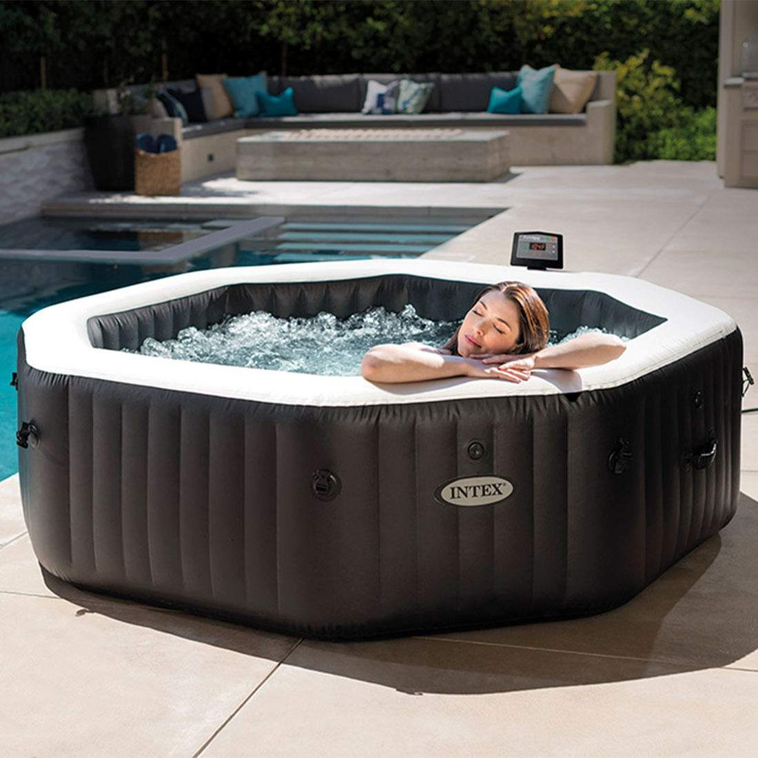 intex purespa jet bubble deluxe whirlpool 1 098 l onyx black