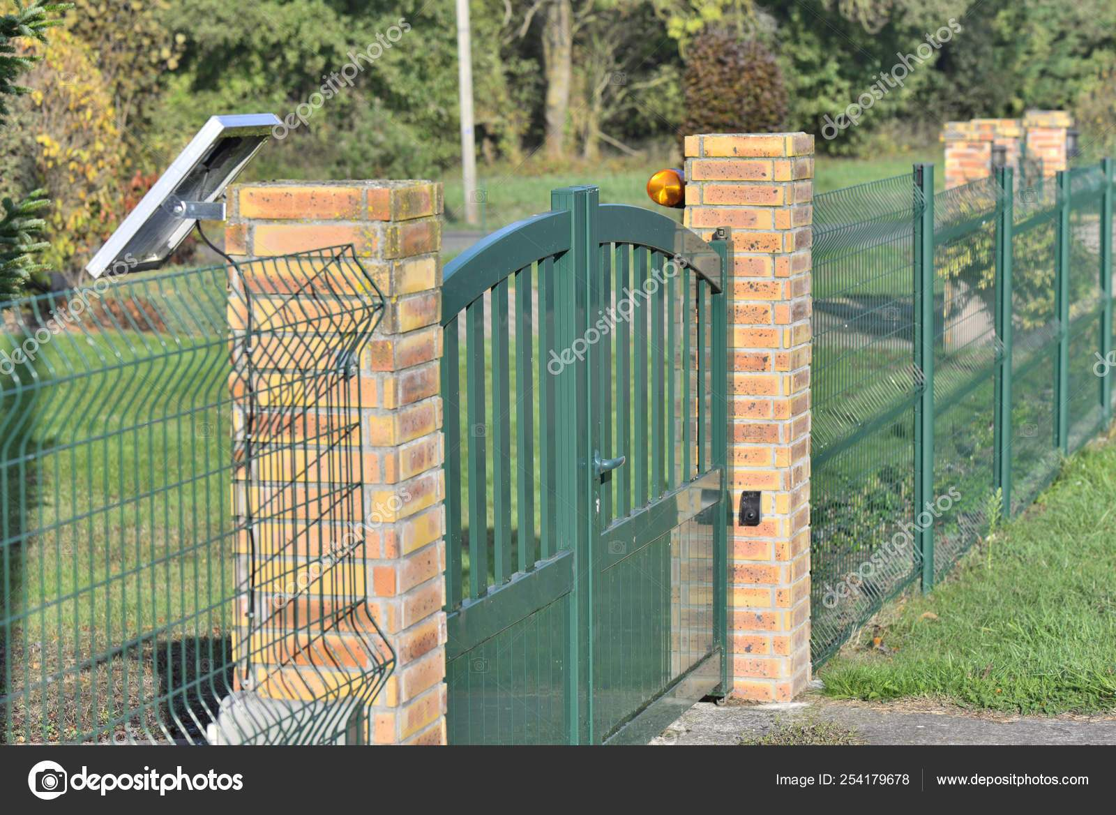 depositphotos stock photo fence with a green electric