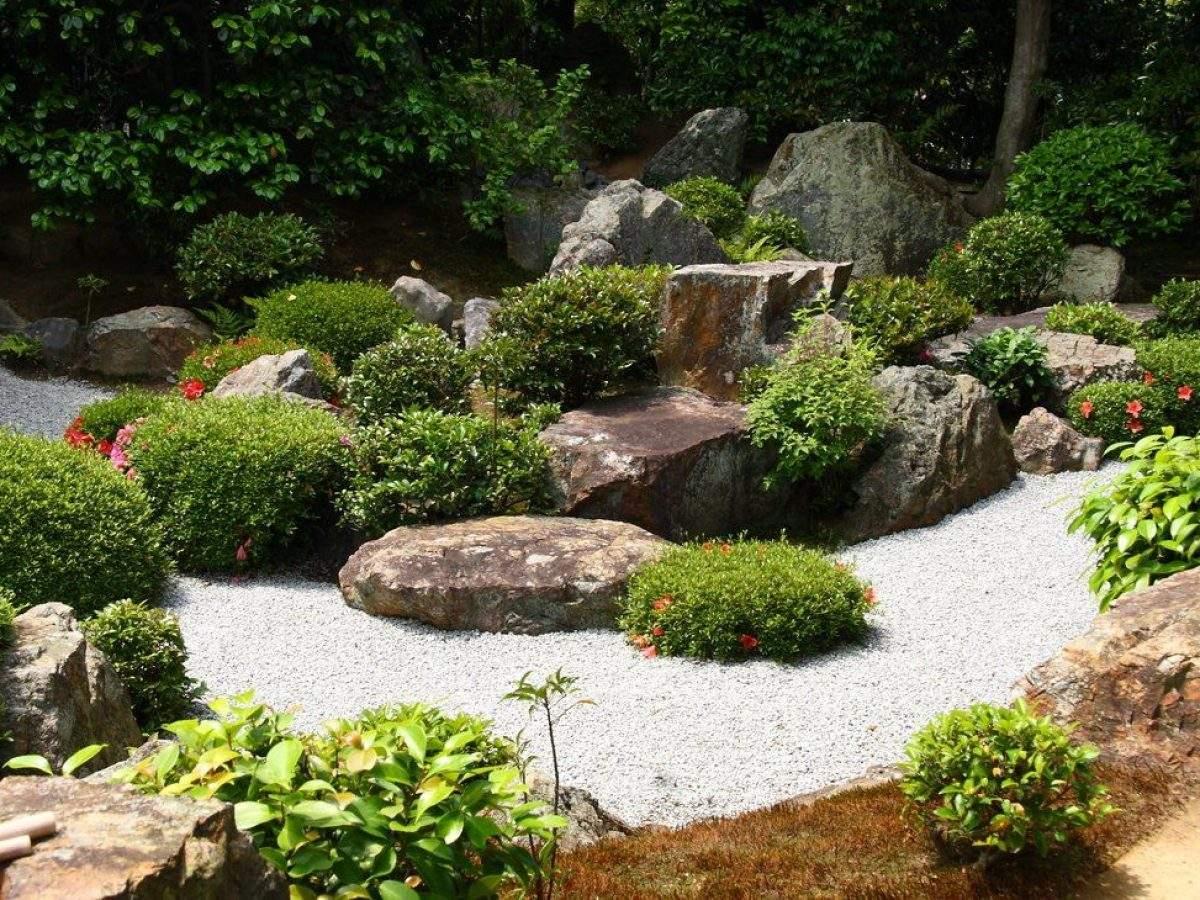 Zen Garten Japan Wasser Kies Pflanzen 1200x900