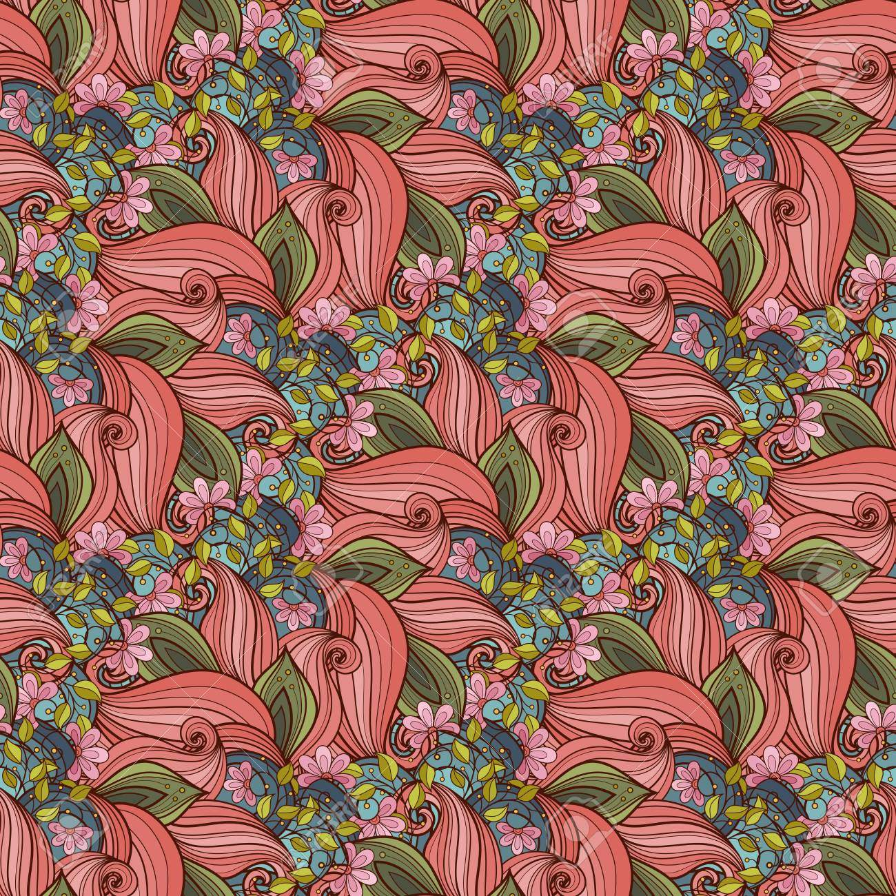photo vector seamless floral pattern hand drawn texture with flowers paisley garden style