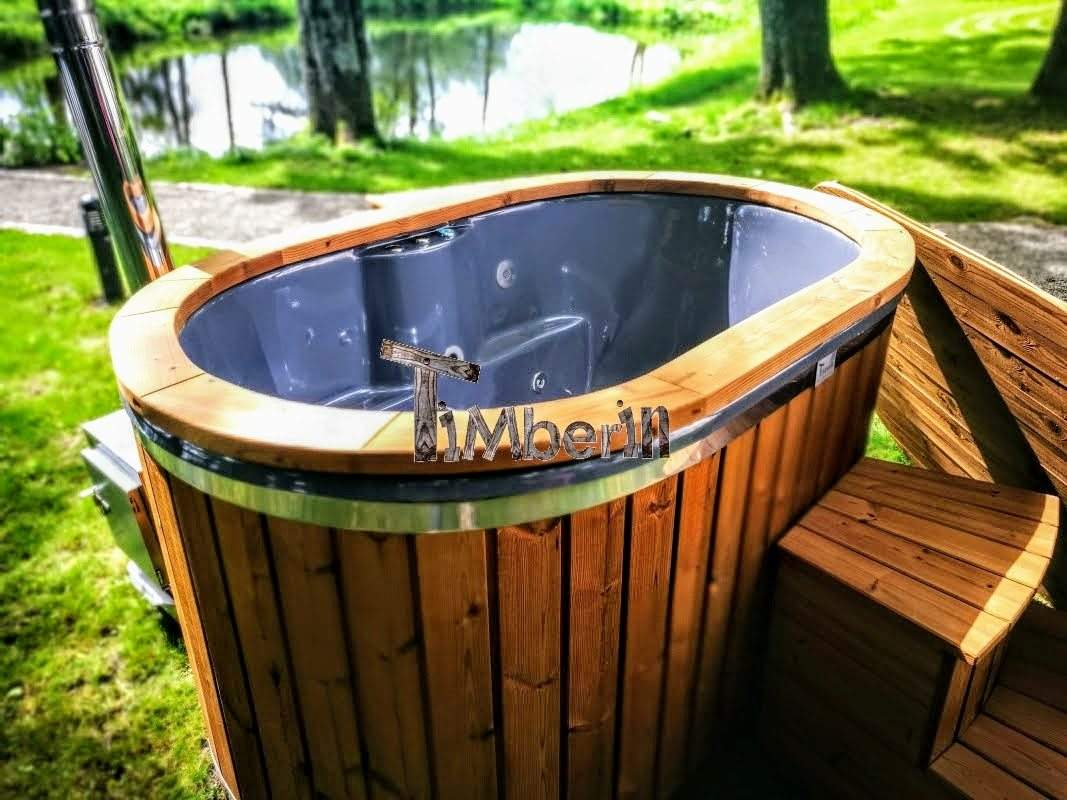 2 person hot tub with thermo wood cladding