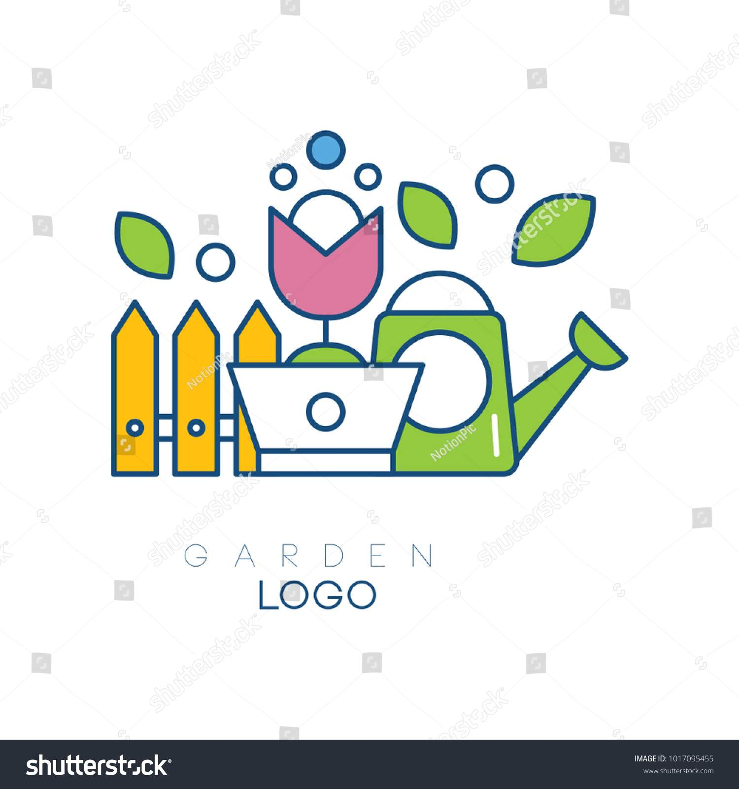 stock vector modern garden logo template with little fence flower in pot and watering can simple hobby icon