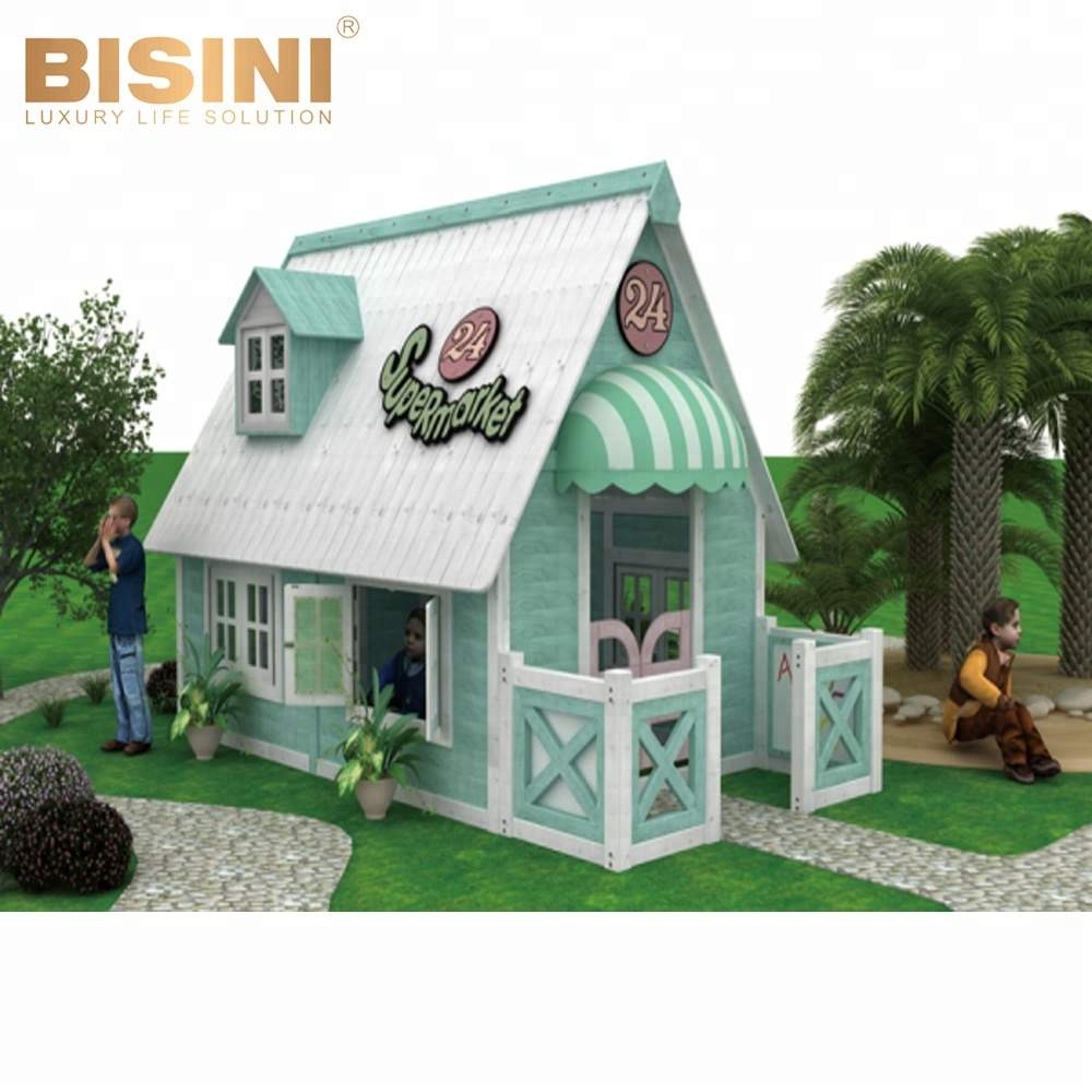 bisini american countryside style outdoor wooden playhouse furniture binisi kids garden playhouse for sale bf07
