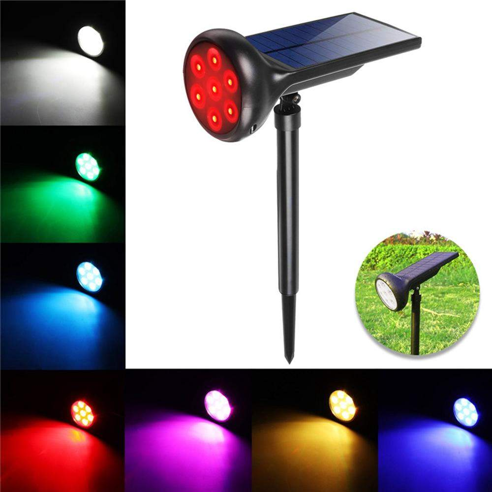 Solar Power 7 LED RGB Spot Light Outdoor Garden Yard Lawn Path Patio Wall Lamp p
