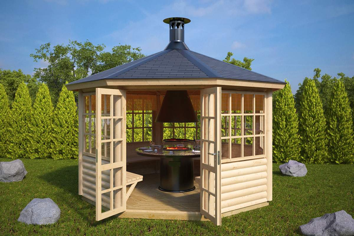 Pavillon Garten Holz Luxus Grillpavillon Lotte S 6m²