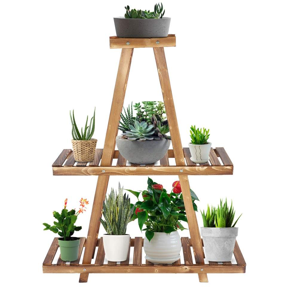 Holz Pyramide Design Plant Stand Sukkulente Blume Topf Display Regal Balkon Garten Decor