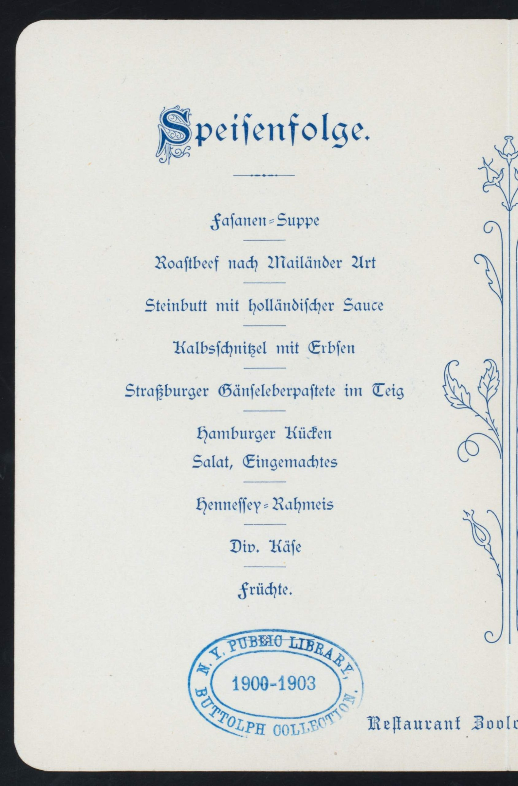 """File DAILY MENU held by RESTAURANT ZOOLOGISCHER GARTEN at """"HAMBURG GERMANY """" FOR NYPL Hades"""