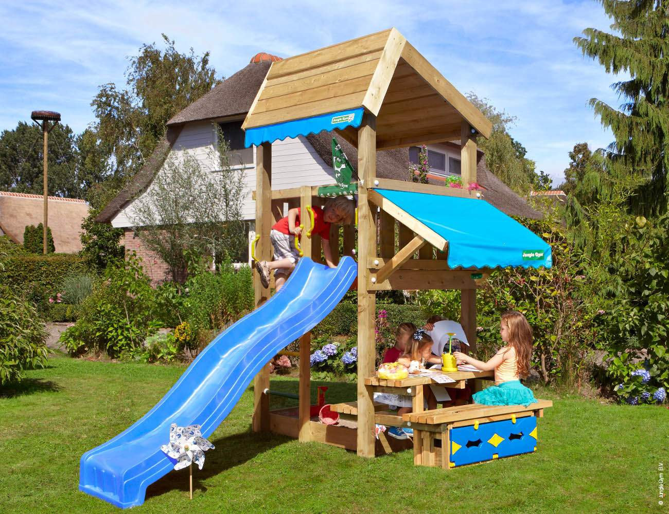 wooden playground equipment home mini picnic blue