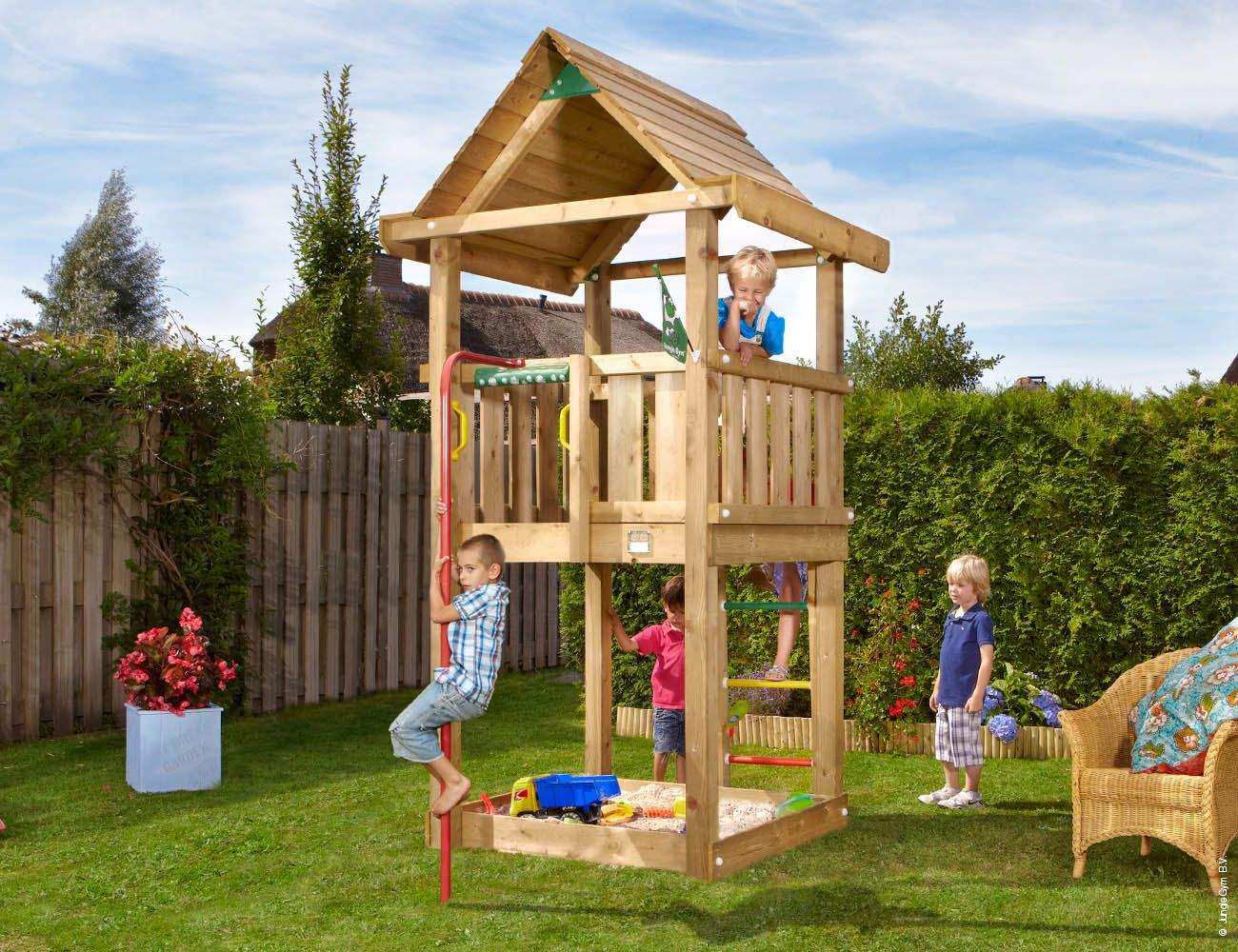 climbing frames small gardens jungle house firemans pole