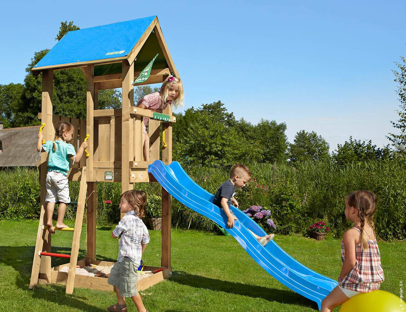 climbing frames for small gardens jungle castle blue