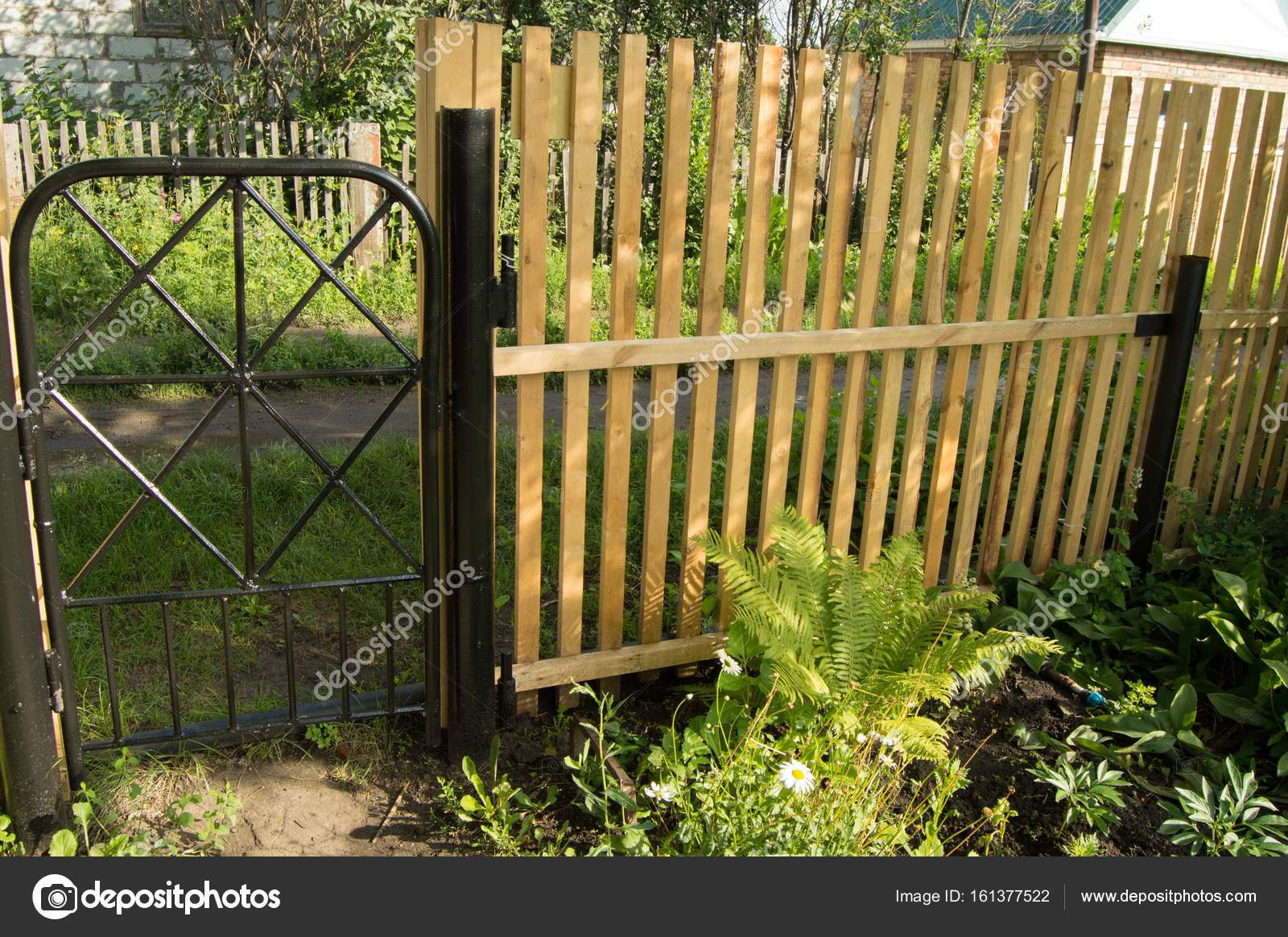 depositphotos stock photo new picket fence and black